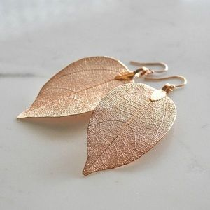 Delicate Hand Dipped Natural Leaf Earrings